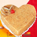 send 1 kg eggless heart shape butterscotch cake delivery