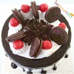 send eggless half kg black forest oreo biscuit cake delivery