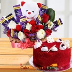 send eggless half kg red velvet cake n teddy chocolate roses flower bouquet delivery