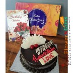 send half kg chocolate truffle cake cadbury celebration box n greeting card delivery
