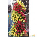 send 100 red yellow  roses premium arrangement delivery