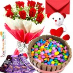send eggless half kg kitkat gems chocolate cake teddy bear chocolate red roses bouquet greeting card delivery
