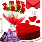 send 1kg eggless heart shape red velvet cake teddy bear chocolate red roses bouquet greeting card delivery