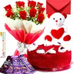 send half kg eggless red velvet cake teddy bear chocolate red roses bouquet greeting card delivery