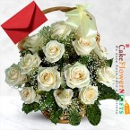 send 15 white roses basket delivery