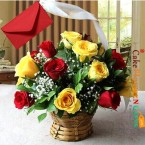send 15 red yellow roses basket delivery
