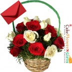 send 15 red n white roses basket delivery