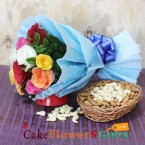 send 10 mix roses bouquet with almonds cashews dry fruits hamper delivery