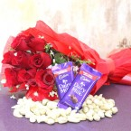 send 10 roses bouquet dairy milk chocolate n cashews dry fruits hamper delivery