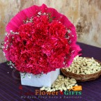 send 10 red carnation flowers bouquet and half kg cashews dry fruit delivery