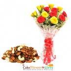 send red yellow rose bouquet with dry fruits delivery