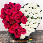 send 40 red white roses heart shape arrangement delivery