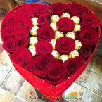 send personalized Chocolate  n red roses  heart shaped Arrangement delivery