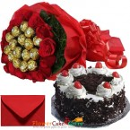send half kg eggless black forest cake n roses ferrero rocher chocolates bouquet delivery