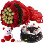 send half kg eggless black forest cake n teddy roses ferrero rocher chocolates bouquet delivery