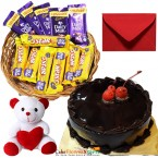 send 1 kg eggless chocolate cake teddy chocolate basket delivery