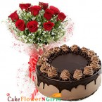 send half kg eggless choco chip cake and 10 red roses bouquet delivery