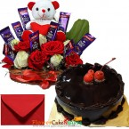 send half kg chocolate cake n special roses teddy chocolate arrangement delivery
