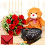 send half kg heart shape chocolate cake roses bouquet teddy delivery