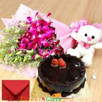 send half kg chocolate cake teddy orchids bouquet delivery