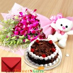 send half kg black forest cake teddy orchids bouquet delivery