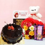 send half kg eggless chocolate Cake mixed roses teddy bear dairy milk silk chocolates card delivery