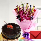 send half kg eggless chocolate cake n orchid chocolate bouquet delivery