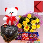 send 1kg eggless heart shape choco chips chocolate cake roses bouquet teddy bear chocolate delivery