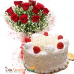 send half kg white forest cake and 10 red roses bunch delivery