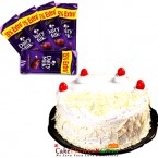 send half kg white forest cake and 5 dary mike chocolate delivery