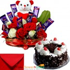 send 1kg eggless black forest cake n teddy roses flower chocolate gift delivery