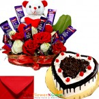 send half kg heart shape black forest cake n teddy roses chocolate combo gifts delivery
