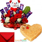 send half kg heart shape butterscotch cake cake n teddy roses chocolate combo gifts delivery