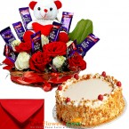 send half kg butterscotch cake cake n teddy roses chocolate combo gifts delivery