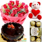 send eggless half kg chocolate cake ferrero rocher teddy bear 20 roses bouquet delivery