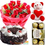 send 1kg black forest cake ferrero rochher teddy bear 20 roses bouquet delivery