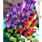 send 10 red roses with 20 dairy milk chocolate bouquet delivery