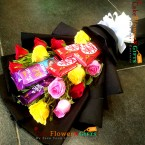 send 12 mix roses kitkat silk dairy milk chocolate bouquet 1 delivery