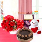 send 1kg choco chips cake teddy roses bouquet  delivery