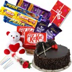 send Chocolate Truffle Cake Chocolate Teddy Balloons for Any Occasion delivery