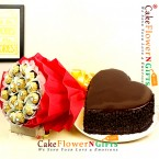 send 1kg eggless choco chips heart shape cake n ferrero choco chocolate bouquet delivery
