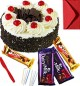 Eggless Black Forest Cake with Chocolate gift pack n Greeting Card