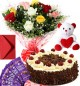 1Kg Black Forest Cake Roses Bouquet Teddy N Chocolate