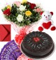 1Kg Chocolate Cake Roses Bouquet Teddy N Chocolate Combo Gift