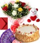 1Kg Butter Scotch Cake Roses Bouquet Teddy N Chocolate Combo Gift