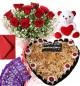1Kg Heart Shape Butter Scotch Cake Roses Bouquet Teddy N Chocolate Combo Gift
