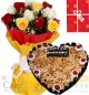 1Kg Butterscotch Heart Shape Cake  Roses bouquet n Greeting Card