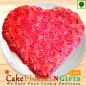 1 kg Eggless Heart Shaped Rose Chocolate Cake