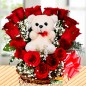 roses teddy heart shape basket