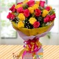 20 pink and yellow roses bouquet